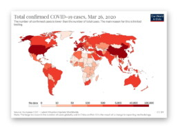 Choropleth map of the total confirmed COVID-19 cases as of March 26, 2020 (Our World in Data)