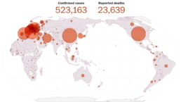 Map showing the global spread of the coronavirus on March 27, 2020 (Washington Post).