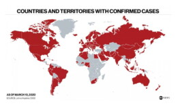 Countries and territories with confirmed cases on March 10, 2020 (ABC News)